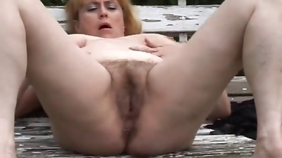 Chubby hairy mature masturbating