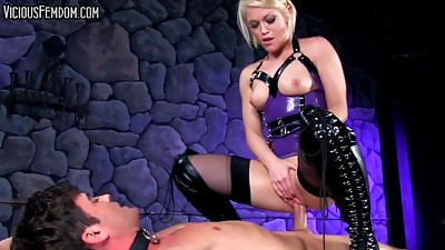 BDSM,Blonde,Cumshot,Femdom,Fucking,Latex,Stockings,Strapon