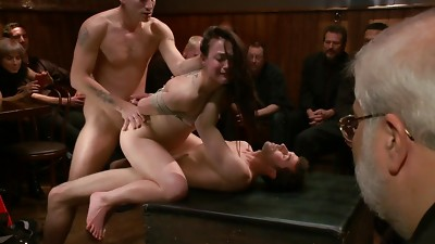 Anal,BDSM,Brunette,Double Penetration,Fucking,Gangbang,Group Sex,Public Nudity,Screaming,Teen