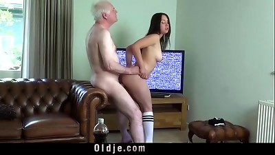 Babe,Big Boobs,Big Cock,Blowjob,Brunette,Cumshot,Doggystyle,Fucking,Old and young,Socks