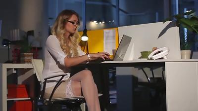 Babe,Blonde,CFNM,Glasses,High Heels,Lingerie,Masturbation,Natural,Office,Secretary