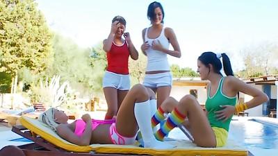 Babe,Beautiful,Brunette,Group Sex,Lesbian,Panties,Party,Petite,Teen