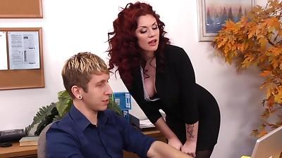 Fucking,MILF,Office,Redhead,Stockings